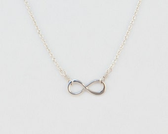 Tiny Infinity Symbol Necklace with Silver or Gold Infinity Pendant