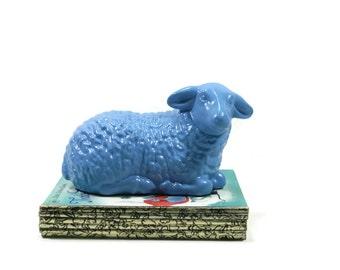Light Blue Lamb Figure - Easter Lamb - Lamb Nursery Decor - Easter Decor - Spring Lamb - Spring Decor - Painted Lamb