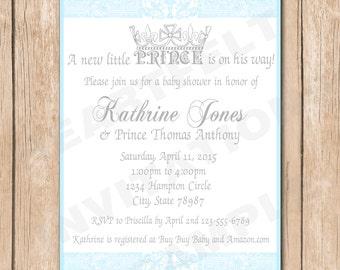 Prince Baby Shower Invitation | Boy, Royalty - 1.00 each printed or 10.00 DIY