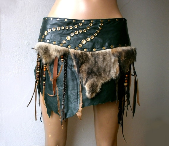 warriors green leather skirt with fur fringe