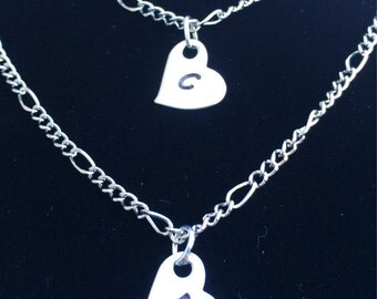 2 Initial Heart Necklaces - Personalization Optional