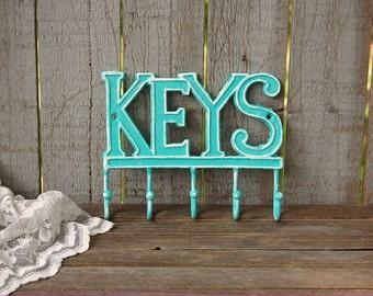 Key Holder, Shabby Chic, Aqua, White, Hand Painted, Cast Iron, Metal, Hook, Rack, Turquiose, Beach Decor