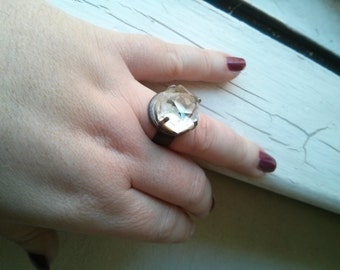 Handmade Quartz Crystal Adjustable ring