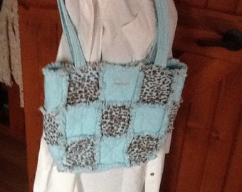 Rag diaper bag in mint green and brown