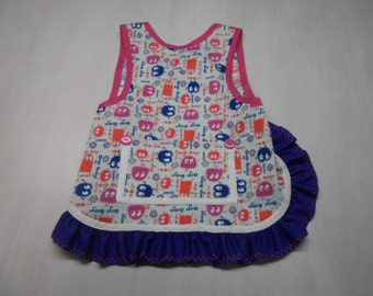 Girls Slip on Apron/bib fits 2 to 4 yrs
