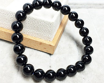 Genuine Black Spinel Bracelet 8MM AAA Natural Black Spinel Beads, Black Spinel Round Beads, Black Spinel Gemstone Beads Black Spinel Jewelry
