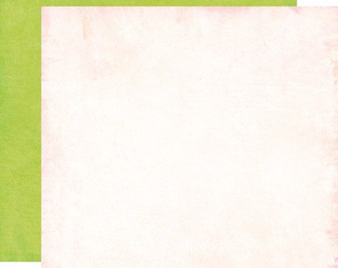 2 Sheets of Carta Bella Paper COOL SUMMER 12x12 Textured Scrapbook Cardstock - Cloud Cream / Garden Green
