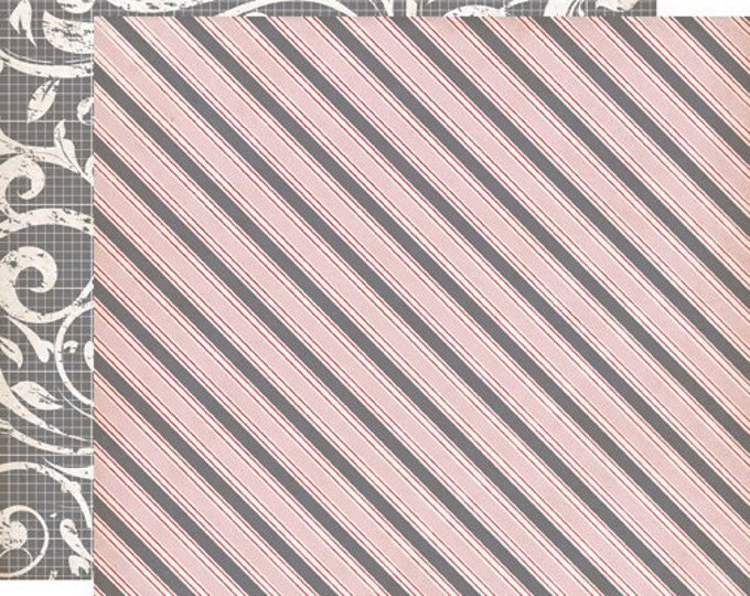 2 Sheets of Echo Park Paper YOURS TRULY 12x12 Valentine's Day Scrapbook Paper - Awning Stripe
