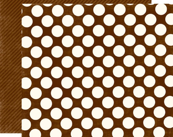 2 Sheets of Echo Park Paper DOTS & STRIPES Candy Shoppe 12x12 Scrapbook Paper - Chocolate Large Dots
