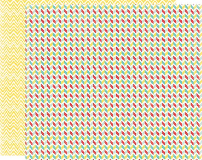 2 Sheets of Echo Park Paper A PERFECT SUMMER 12x12 Scrapbook Paper - Chevrons
