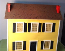 SALE-Already Assembled Vintage Handmade 1920's Colonial Style Dollhouse with Curtains, Clock and Shelving Unit
