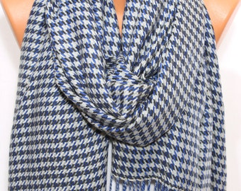 Saxe Sky Blue Black Cream Houndstooth Fringe Scarf Fall Winter Fashion Scarf Wrap Holiday Fashion Accessories Gifts Ideas For Her For Him