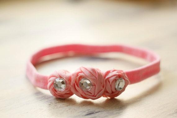 Pink Rosettes Baby Headband