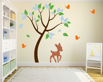 Play Room Decal with Deer, Butterflies, and Forest Tree