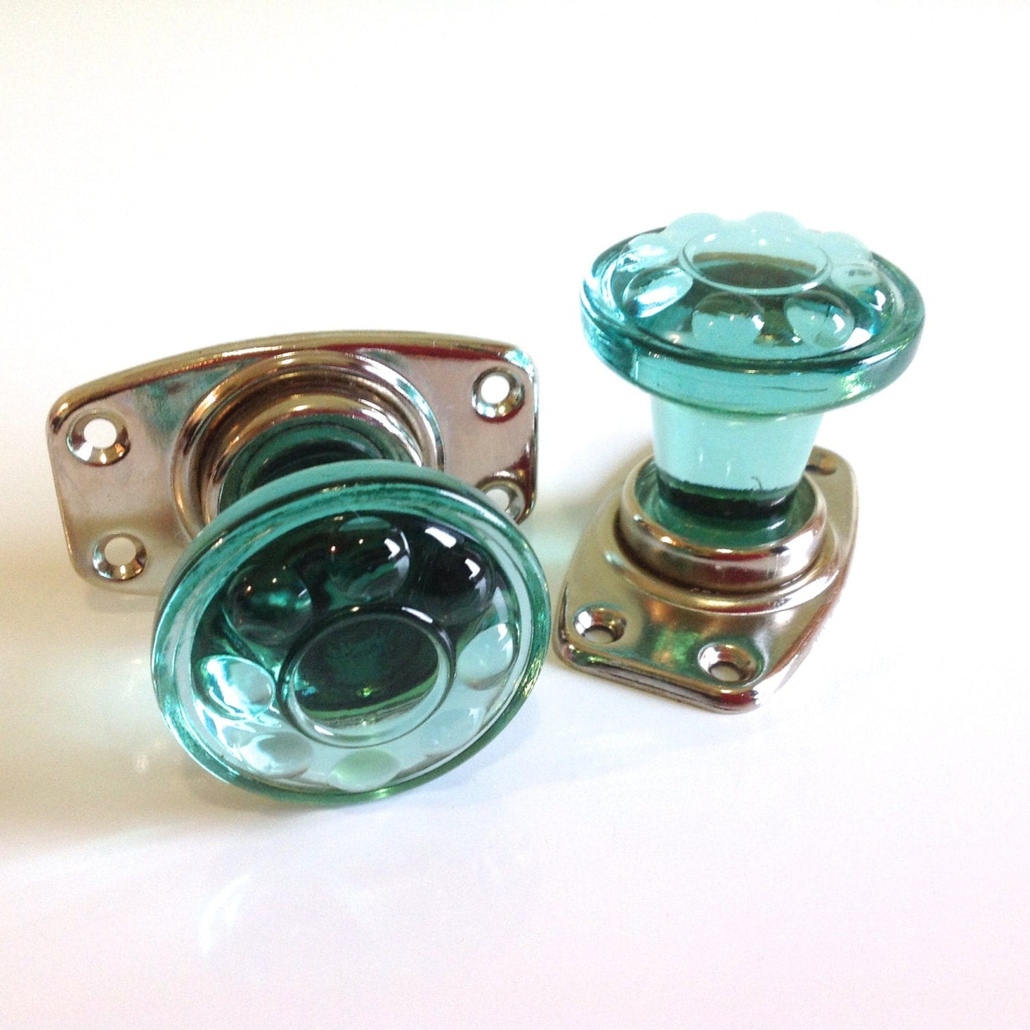 Vintage Door Knobs Door Handles Green Glass Knobs