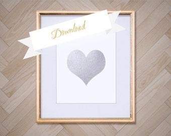 Silver Foil Heart Art Print 8x10, Instant Download, Heart Printable, Heart Download, DIY, Digital Download, Heart Decor, Room Decor
