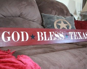 God Bless Texas, hand-painted wood sign