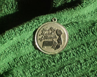 Vintage maid of honor sterling silver pendant