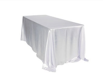 90 X 132 Inch Rectangular Satin Tablecloths White | Wholesale Table Linens