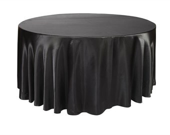 YCC Linen - 120 inch Black Satin Round Tablecloth | Wedding Tablecloth