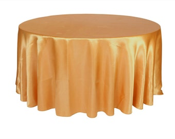 YCC Linen - 120 inch Gold Satin Round Tablecloth | Wedding Tablecloth