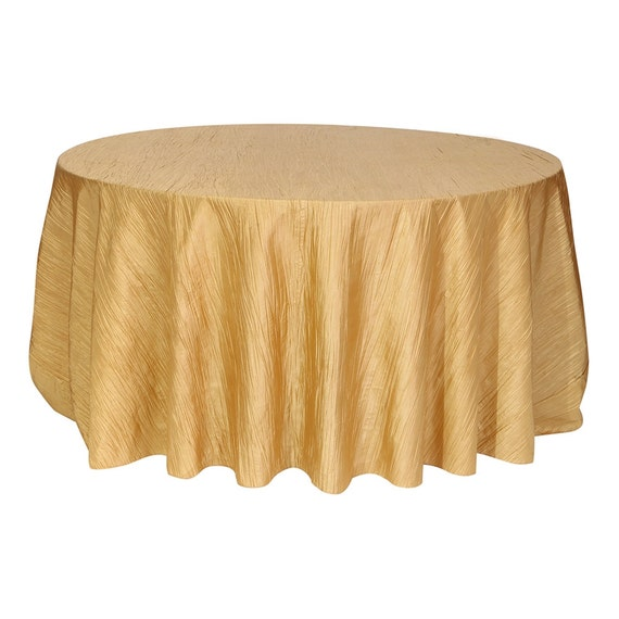 120 inch gold crinkle taffeta round tablecloth wedding