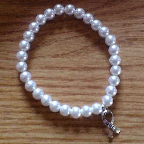 faux pearl awareness stretch bracelet