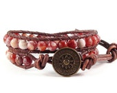 Leather Wrap Bracelet Fire Crackle Agate Gemstones Sundial Button Beaded Jewelry