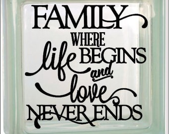 Family, life begins, love never ends - Vinyl decal - for DIY project