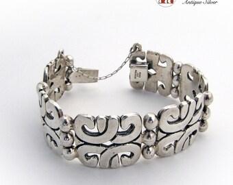 Large Vintage Mexican Bracelet Sterling Silver 925