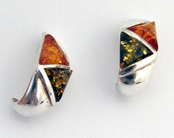 Amber Treated Earrings Sterling Silver