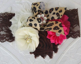 Leopard Headband/Toddler Headband/Girl Headband/Newborn Headband/Flower Headband/Baby Girl Headband/Baby Headband/Animal Print Headband
