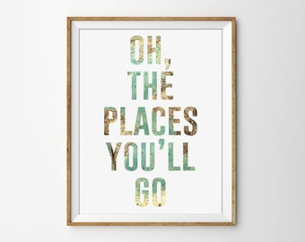 Oh the Places You'll go Typography Quote Art Print. Travel Poster. Map Art. Word Art. Office Decor. Modern Home Decor. Quote Poster.