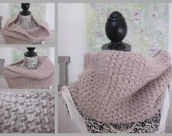 Hand Knit Cowl Scarf, Neck Warmer, Tube Scarf, Cream Colored Acrylic, Winter Fashion, Winter Accessories,