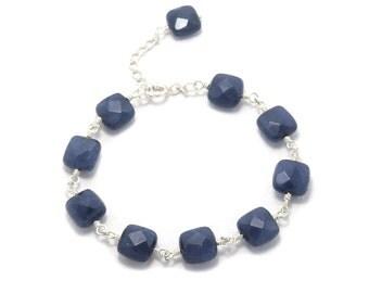 92.5 Silver and Sapphire handmade Bracelet