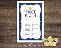 Instant Download Royal Blue Prince Price Is Right Game, Gold Glitter Prince Baby Shower Games, Printable Crown Theme Price Is Right 66C