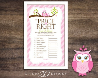 Instant Download Pink Owl Price Is Right Baby Shower Game, Pink Owl Baby Shower Games for Girl, Lime Pink Brown Baby Shower Price Game #23E