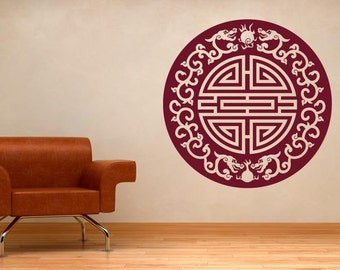 Asian Motif With Floral Dragons Wall Sticker