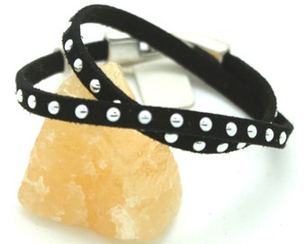 Black stud bracelet wrap around