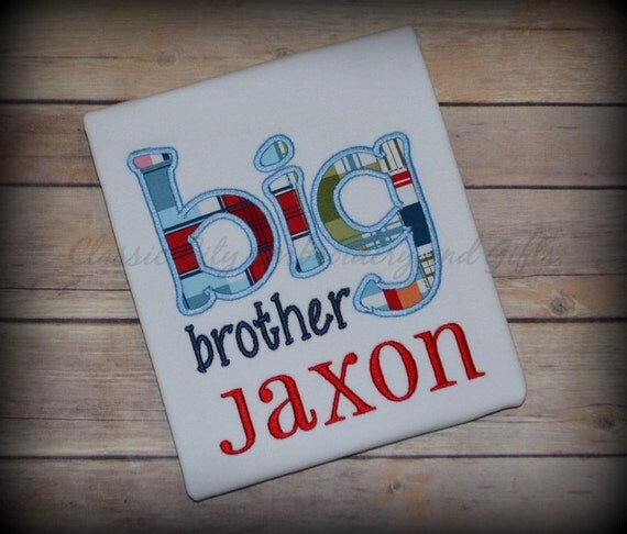 white big brother applique shirt customized to your