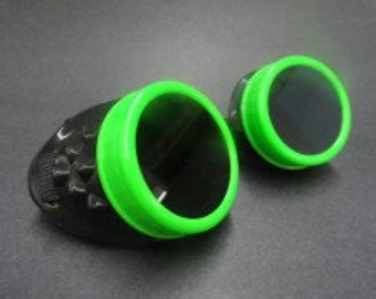 Plain Black & Fluo Green Goggle