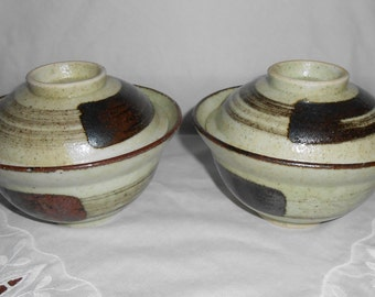 Large Stoneware Art Pottery Covered Rice Bowls 6 in. across x 4.5 in. tall