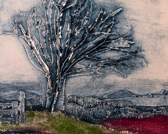 The Old Rowan, mounted digital print taken from an original collagraph.