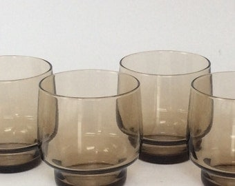 Vintage whiskey tumblers drinking glasses set of 4 vintage smoked glass lo ball mid century MadMen bourbon whisky engagement wedding father'