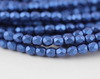 50 Metallic Suede Blue, 3mm Czech fire-polished glass faceted round (FP-3M-19)