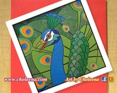 Peacock Card- Greeting Card- Small Card- Any Occasion- Blank Card- Bird Card- Peacock Mosaic Card- Pop Art Card- Mosaic Art- Colorful Card