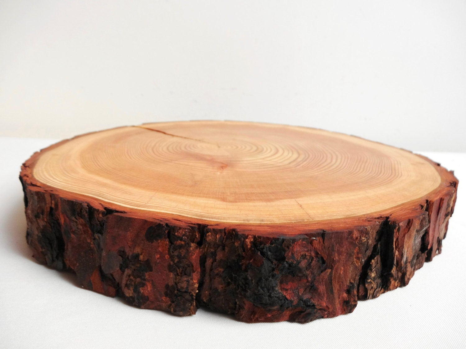 10 5 wood slab stump tree trunk slice cake stand for Wood trunk slices