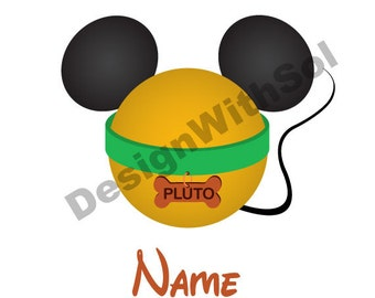 Pluto Ears customized with name of your choice available as file to print on iron on transfer paper