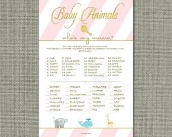 "Animal Matching ""Who's my mama?"" Baby Shower Game | Pink White Stripe | Gold Glitter |Printable DIY | Baby to Mom Animal  | IAG-133B"