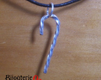 Christmas Candy Cane pendant necklace, recycled sterling silver  handmade by BijouterieOz.